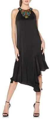 Laundry by Shelli Segal Beaded Asymmetrical Midi Dress