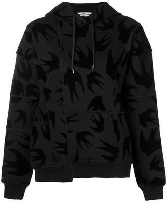 McQ swallow print asymmetric hoodie