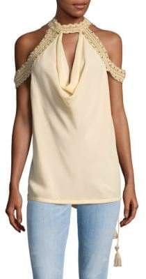 Haute Hippie Mockneck Silk Cold Shoulder Top