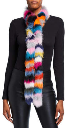 CHARLOTTE SIMONE Rainbow Twist Fox Fur Scarf