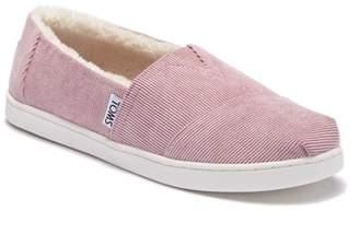 Toms Faded Rose Corduroy Faux Fur Lined Slip-On Shoe (Little Kid & Big Kid)