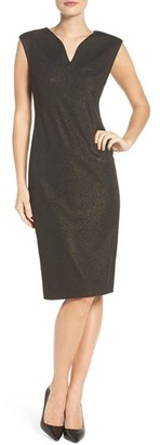 Women's Eci Metallic Ponte Sheath Dress $88 thestylecure.com