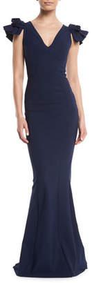 Chiara Boni Belvis V-Neck Rosette-Sleeve Gown