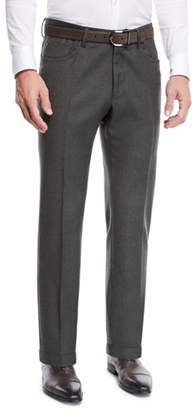 Incotex Men's Moss Five-Pocket Flannel Dress Pants