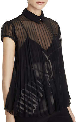 Schiaparelli Short-Sleeve Pleated Chiffon Blouse, Black