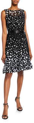 Rickie Freeman For Teri Jon Sleeveless Chiffon Polka Dot Pintuck Dress