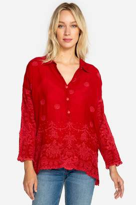 Johnny Was Antik Lace Collared Blouse
