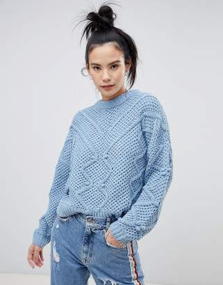 Pull&Bear textured diamond knit sweater in blue