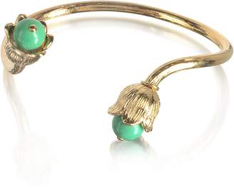 Aurelie Bidermann 18K gold-plated Lily of the Valley Bracelet w/Turquoise
