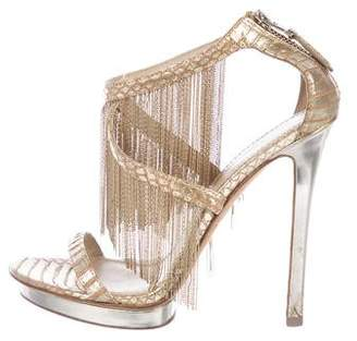 Brian Atwood Leather Chain-Link Sandals