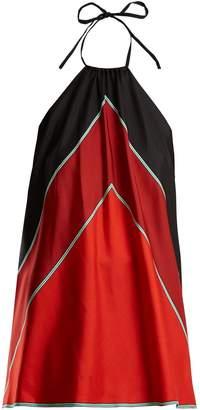 Diane von Furstenberg Chevron-print silk halterneck top