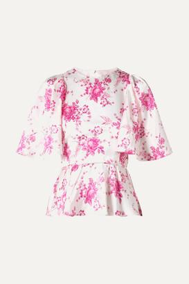 Les Rêveries Open-back Floral-print Silk-charmeuse Peplum Top - White