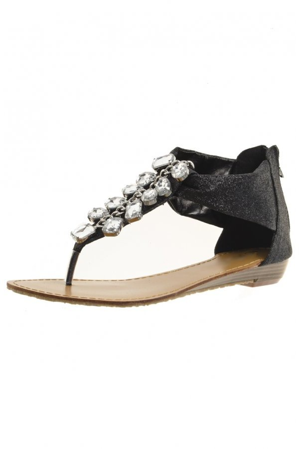 Black Glitter Jewel Flat Sandals
