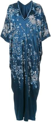 Josie Natori floral-embroidered caftan dress