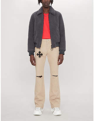 Off-White Two-tone shearling bomber jacket