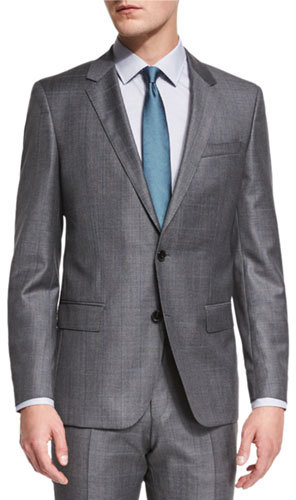 Hugo Boss Hugo Boss Huge Genius Slim-Fit Basic Sharkskin Suit, Gray/Teal