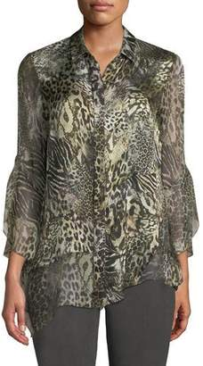 Elie Tahari Layla Animal-Print Silk Blouse