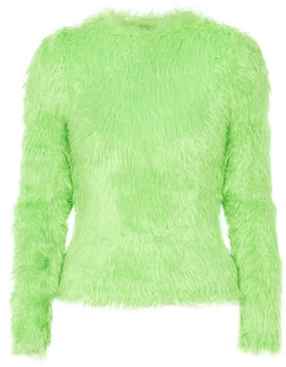 Balenciaga Faux Fur Sweater - Light green