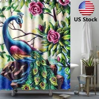 Kadell Peacock Waterproof Home Bathroom Pad Bath Mat Decor Shower Curtain + 12x Hooks
