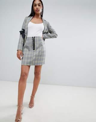 PrettyLittleThing Zip Detail Check Skirt
