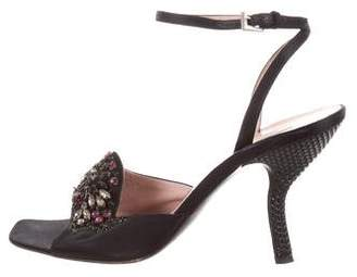 Prada Jewel-Embellished Ankle Strap Sandals