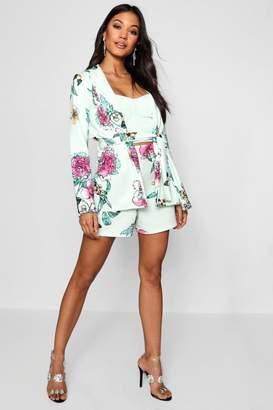 boohoo Floral Print Belted Blazer