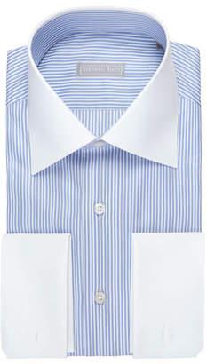 Stefano Ricci Striped Dress Shirt with Solid Collar & Cuffs