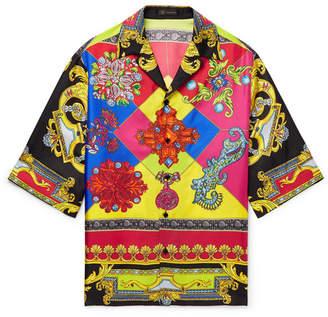 Versace Camp-Collar Printed Silk-Twill Shirt