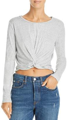 Sadie & Sage Striped Knotted Cropped Top