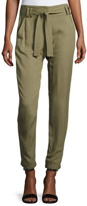 A.L.C. Ansel Belted Twill Straight-Leg Pants, Army $345 thestylecure.com