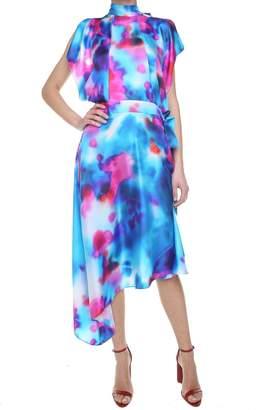 MSGM Tie-dye Silk-twill Midi Dress