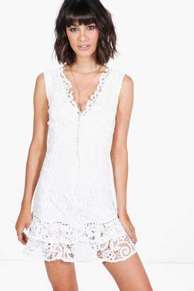boohoo Boutique Lace Panelled Bodycon Dress