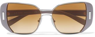 Prada - Square-frame Acetate And Silver-tone Sunglasses - Gray $430 thestylecure.com
