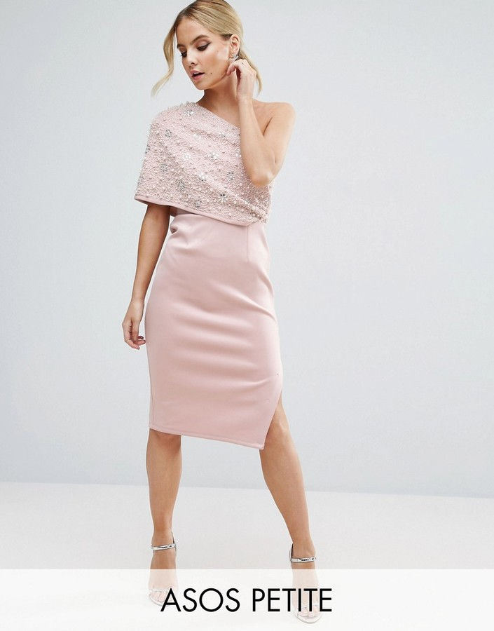 AsosASOS Petite ASOS PETITE Scattered Embellished One Shoulder Scuba Midi Pencil Dress
