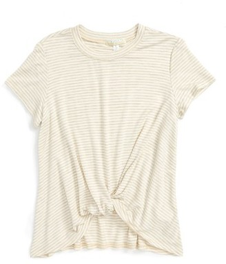 Girl's Love On Tap Knotted Stripe Tee $26 thestylecure.com