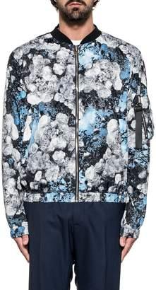 MSGM Gray/light Blue Floral Print Jacket
