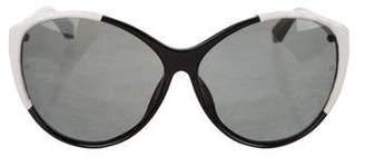Linda Farrow Leather-Trimmed Oversize Sunglasses
