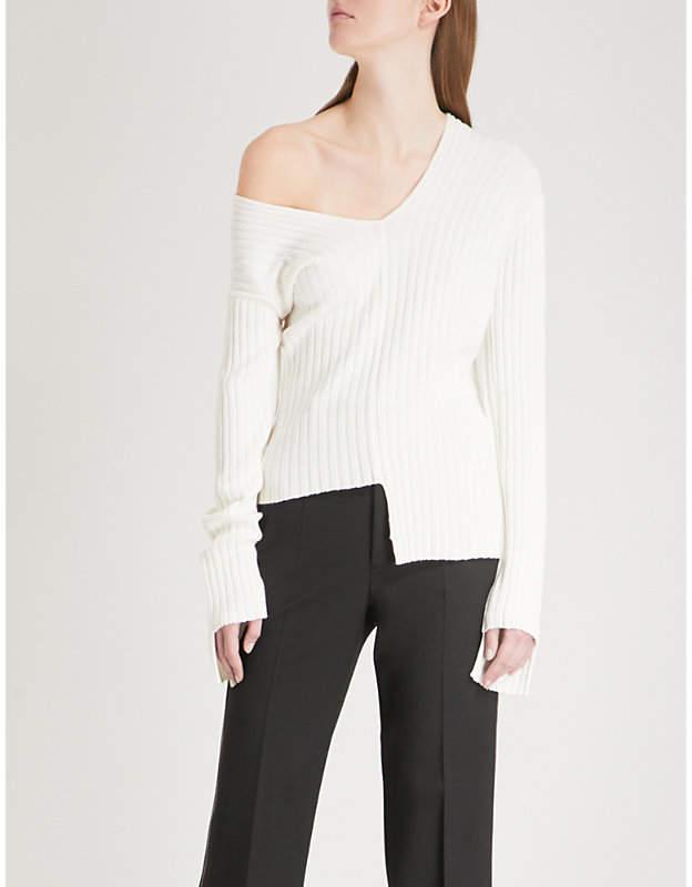 Mismatched ribbed-knit jumper