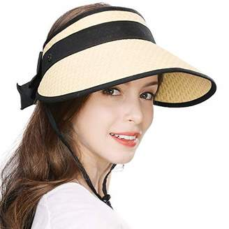 BEIGE Jeff & Aimy Ladies Wide Brim Straw Visor Sunhat UV Protection SPF 50 Packable Beach Accessories with Chin Cord