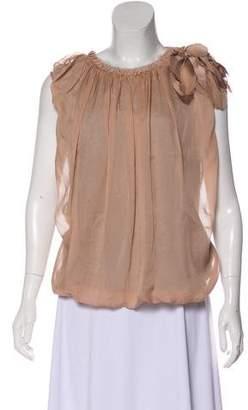 Lanvin Silk-Fronted Sleeveless T-shirt