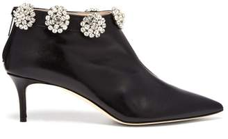 Christopher Kane Crystal Embellished Leather Ankle Boots - Womens - Black Multi