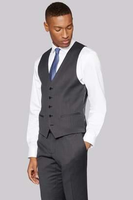DKNY Slim Fit Dark Charcoal Texture Waistcoat