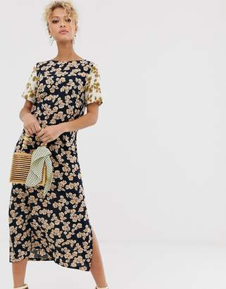 Never Fully Dressed contrast sleeve midi dress in multi floral print