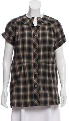 Etoile Isabel Marant Plaid Short Sleeve Button-Up