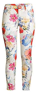 7 For All Mankind Women's The Ankle Skinny Floral Print Jeans