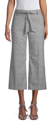 Belted Flare Houndstooth Pants