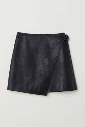 H&M Short Wrap-front Skirt - Black