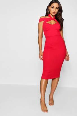 boohoo Rita Strappy Top Detail Midi Bodycon Dress $40 thestylecure.com