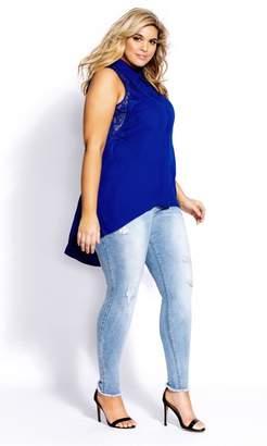 City Chic Lace Bella Shirt - Cobalt