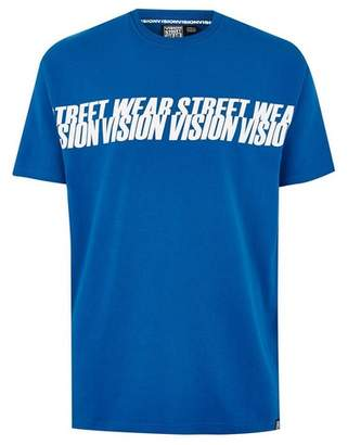 Topman Mens VISION STREET WEAR Blue Repeated Logo T-Shirt